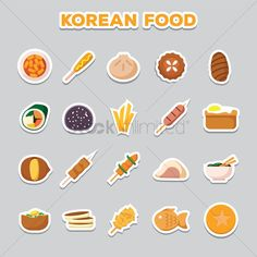 set of korean food icons vector graphic