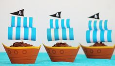 """Ideal for any """"Jake and the Neverland Pirates"""" party. My son will love these Pirate Ship Party Cupcakes! Better yet.. its a FREE template that can be downloaded."""