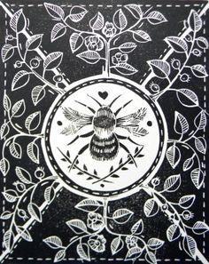 Little Bee Original Linocut Printm Amanda Collvile