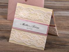 Patel Pink Lace  Wedding Invitation Pocket Fold by 4LOVEPolkaDots, $5.80