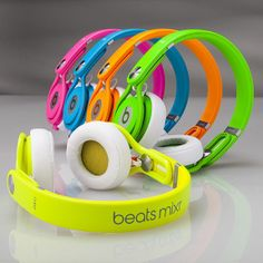 I want the green one first then all of them!!!  Hot New Beats by Dre Neon Mixr Headphones Like, Repin, Comment, Enjoy