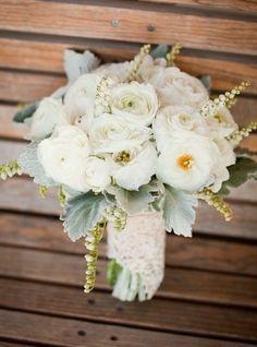 mint + gold wedding bouquet idea. Pretty!