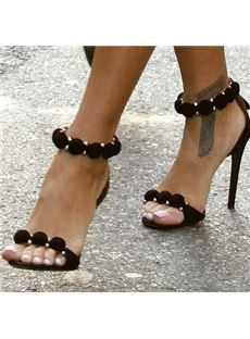 Fashionble Black Stiletto Heel Sandals with Flower Decoration