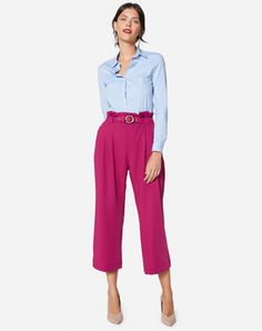 Pink Culottes, Culottes Outfit, Wide Leg Cropped Pants, Wide Pants, Office Outfits, Casual Outfits, Capri Pants Outfits, Color Combinations For Clothes, Color Combos