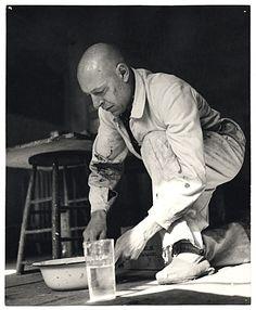 Jean Dubuffet in his Studio (Atelier), 1952.    Photo by Key Bell Reynall (b. 1905 / d. 1977)