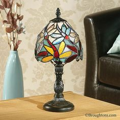Interiors 1900 Lorette Tiffany Mini Table Lamp: The Lorette Mini Lamp has beautiful craftsmanship with quality art glass. Tiffany Style Table Lamps, World Decor, Bedside Lighting, Visual Comfort, Lamp Bases, Ceiling Fixtures, Glass Shades, Floor Lamp, Interiors