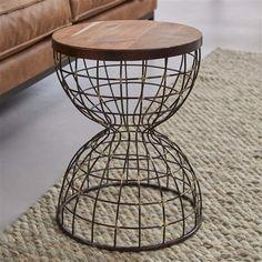 Bijzettafel Ø36 houten top/wire / Antiek koper finish