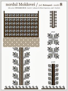 Semne Cusute: iie din nordul MOLDOVEI, Botosani Folk Embroidery, Embroidery Patterns, Cross Stitch Patterns, Palestinian Embroidery, Cross Stitching, Beading Patterns, Pixel Art, Fabric Design, Folk Art