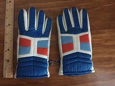 Children's Ski Gloves Vintage winter nylon/PVC child's ski gloves in dark blue with white, blue & red blocking by HonorableMommy on Etsy https://www.etsy.com/listing/212383663/childrens-ski-gloves-vintage-winter