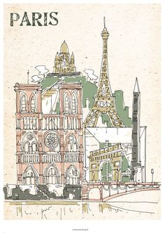 Paris - Poster A3 illustration Version2. €18.00, via Etsy.