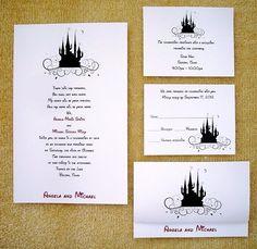 100 Personalized Custom Cinderella Castle Disney Wedding Invitations Set