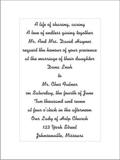Wedding Invitation Wording Samples 21st Bridal World Wedding