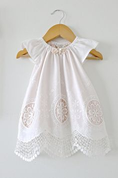 Baby Girl Baptism Dress-Antique White Cotton Lace от ChasingMini