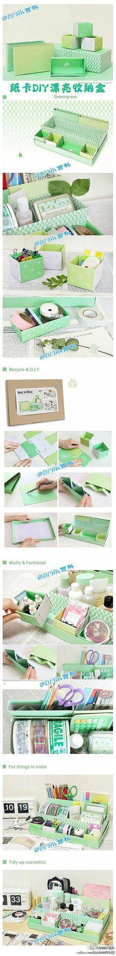 Organizador utilizando caixas de diferentes tamanhos #inspiração