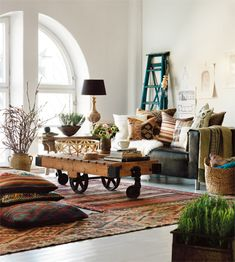 industrial + bohemian + turkish kilims (totally our space :)