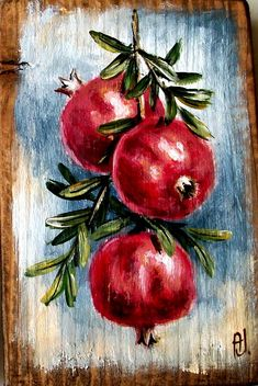 (notitle) – Ana Jota – Join in the world of pin Fruit Painting, Ceramic Painting, Acrylic Painting Canvas, Acrylic Art, L'art Du Fruit, Fruit Art, Art Floral, Pomegranate Art, Soft Pastel Art