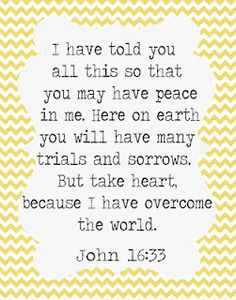 """""""I have told you all this so that you may have peace in me. Here on earth you will have many trials and sorrows. But take heart, because I have overcome the world."""" -John 16:33"""