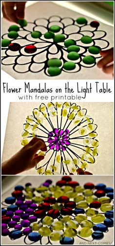 Simple light table activity for kids: creating flower mandalas (comes with a free printable!) from And Next Comes L Sensory Activities, Flower Activities For Kids, Preschool Activities, Sensory Rooms, Sensory Play, Preschool Flower Theme, Preschool Art, Licht Box, Reggio Classroom