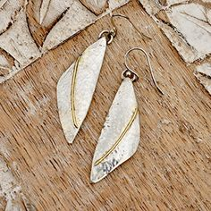 Silver Earrings with 18ct Gold Decoration by ianaJewellery on Etsy