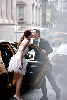 Kiss by the cab.