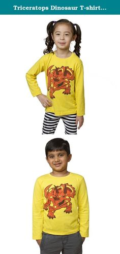 Triceratops Dinosaur T-shirt (2T). The mighty triceratops were heroes of the Cretaceous period. These tough vegetarians, successfully fended off attacks from T. Rexs. How cool is that? If you think 3 horns and a bony frill are awesome, we recommend that you Try, Sir, A Top! This fun top is 100% organic cotton & super soft. Available in sizes 2T-Youth L.