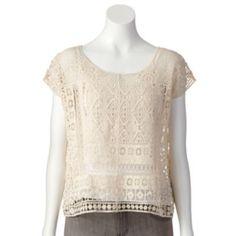 LC Lauren Conrad Crochet Crop Top