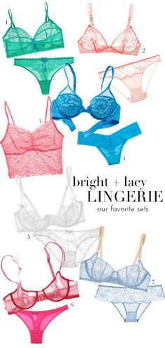 Bright & vibrant lingerie sets - perfect for your next bachelorette party or wedding shower!