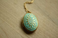 Small Blue Locket Ornate Necklace, Gold Locket, Photo Locket, Oval Pendant, Small, Long Chain Choice, 14kt Gold Filled Chain