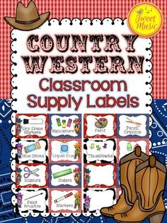 Labels for Classroom Supplies~Country Western Style Decor  Decorate your classroom with these adorable Country Western Classroom Supply Labels. There are two options included in this pack and editable supply cards for you to add any labels you need!  This set of labels is included in the Country Western Style Decor Package by Tweet Music.