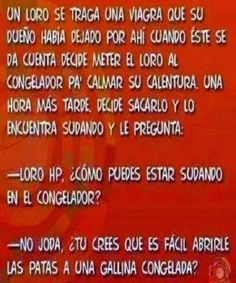 El loro y la viagra... #humor #chiste #viagra #loro #congelador #gallina #jokes #funny Spanish Quotes, Periodic Table, Jokes, Humor, Funny Stuff, Adult Dirty Jokes, Funny, Hilarious, Good Jokes