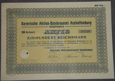 Bayerische Aktien-Bierbrauerei Aschaffenburg 100 RM 1933