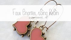 Using resin to create a faux enamel effect is super easy, and once you get the hang of it you can mix virtually any colour you want and use it for all kinds of fun applications. This is a very simp. Diy Resin Earrings, Resin Jewelry, Jewelry Crafts, Beaded Jewelry, Jewelry Ideas, Jewelry Design, Jewellery, Coloring Resin, Small Diamond Rings