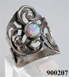 Opal on sterling silver ring