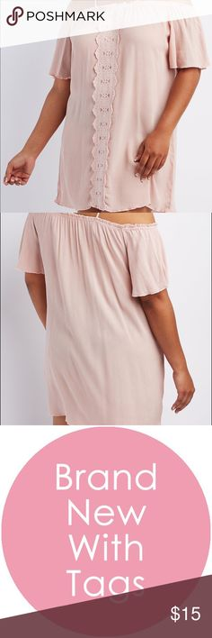 """1x blush off the shoulder gauze & crochet dress Gauze dress to get you ready for spring in a beautiful pale blush color. Skinny spaghetti straps hold the dress up , and give a cold shoulder effect. 35"""" long. From Charlotte Russe. Rayon Charlotte Russe Dresses Mini"""