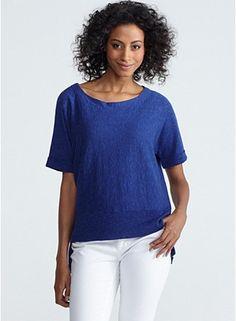 Scoop Neck Short-Sleeve Box-Top in Linen Cotton Slub