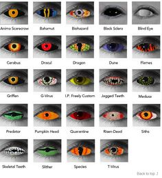 halloween contacts! Ask what halloween contacts we have available, there are over 70 different styles!!!