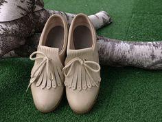 70's Vintage Golf Saddle Shoes with Fringe Shoe Lace Flaps