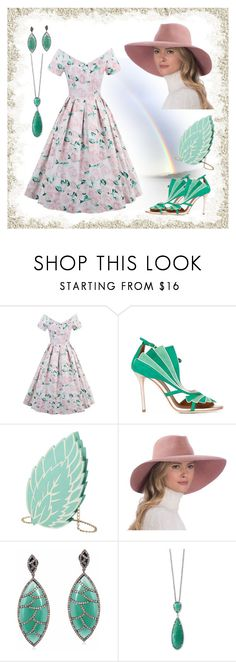 """""""Summer dress"""" by callmerose ❤ liked on Polyvore featuring Malone Souliers, Eric Javits, Meghna Jewels and Effy Jewelry"""