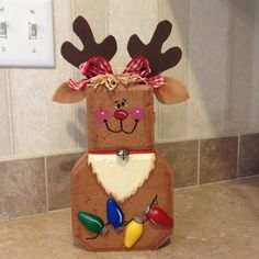 This is borrowed and way cute! One of my crafts! Ruby the reindeer.from my painted pet patio paver collection. Painted Bricks Crafts, Brick Crafts, Painted Pavers, Concrete Crafts, Stone Crafts, Cement Pavers, Brick Pavers, Christmas Projects, Holiday Crafts