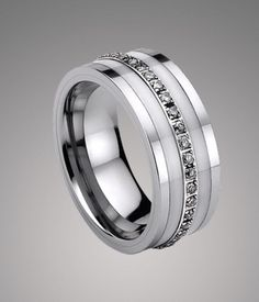 Luxury Tungsten Carbide Wedding Band with White Ceramic and CZ Inlay - Tungsten Republic