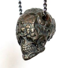 * Sugar Skull Necklace Day of the Dead Pendant  Oxidized ~by Moon Raven Designs *