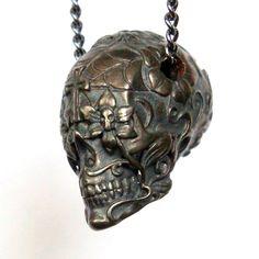 Sugar Skull Halskette dunkel oxidiert Bronze Sugar Skull von mrd74