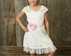 9bc28a247 Navy Blue Flower girl dress, rustic flower girl dress, country flower girl  dress, Off White lace , easter dress,Beach wedding flower girl
