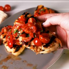 Halloumi has a high melting point, making it ideal for grilling. We used it as crust for the perfect bruschetta and couldn't stop eating it. Don't cut your halloumi slices too thin or they won't hold up well under the weight of the tomatoes. Get the recip Vegetarian Recipes, Cooking Recipes, Healthy Recipes, Grilled Halloumi, How To Grill Halloumi, Slow Food, Tapas, Bruschetta Recipe, Appetisers