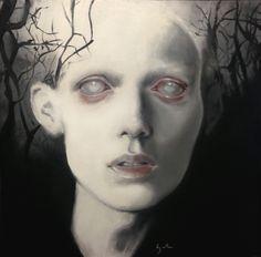 Kate Zambrano: 'Coroner' #painting #fine #arts #dark #white #black #pale #gothic #eyes