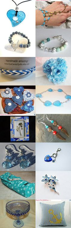 My Heart is Blue by Laura Potter on Etsy--Pinned with TreasuryPin.com #Brooch #HomeDecor #Jewelry #PillowCover #NapkinRing #Bracelet #Earring Bowl #FingerBracelet