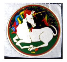 Rare Vintage Illuminations White Unicorn Sticker 80's
