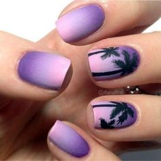Purple Ombre Palm Tree Nails Great for Summer - Nagel Kunst Purple Nail Art, Purple Nail Designs, Cute Nail Designs, Purple Ombre Nails, Ombre Nail Colors, Beach Nail Designs, Pretty Designs, Blue Ombre, Cute Acrylic Nails