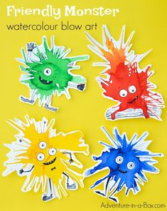 Friendly Monster Watercolour Blow Art with Straws If you like process art and trying new painting techniques with kids, keep this watercolour monster craft in mind for the next rainy afternoon. They are guaranteed to brighten your day! Diy With Kids, Fun Crafts For Kids, Diy Arts And Crafts, Creative Crafts, Art For Kids, Kid Art, Craft Kids, Art Children, Recycled Art Projects