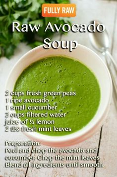 I love avo and have never thought about using it in a soup. This Raw Avocado Soup, sounds like a great addition to my new healthy eating plan. Vegan Soups, Raw Vegan Recipes, Healthy Recipes, Vegan Ideas, Vegan Raw, Healthy Soup, Vegan Life, Eating Raw, Healthy Eating